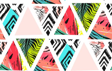Hand drawn vector abstract unusual summer time decoration collage seamless pattern with watermelon,aztec and tropical palm leaves motif isolated on white background. Stok Fotoğraf - 92734748