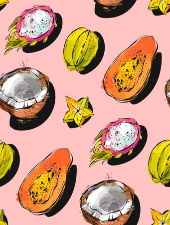 Hand drawn vector abstract freehand textured unusual seamless pattern with exotic tropical fruits papaya,dragon fruit,coconut and carambola isolated on pink pastel background. Illustration