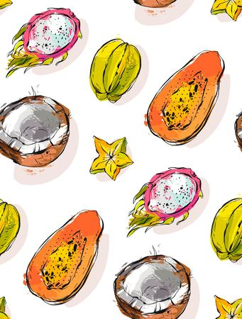 Hand drawn vector abstract freehand textured unusual seamless pattern with exotic tropical fruits papaya, dragon fruit, coconut isolated on white background.