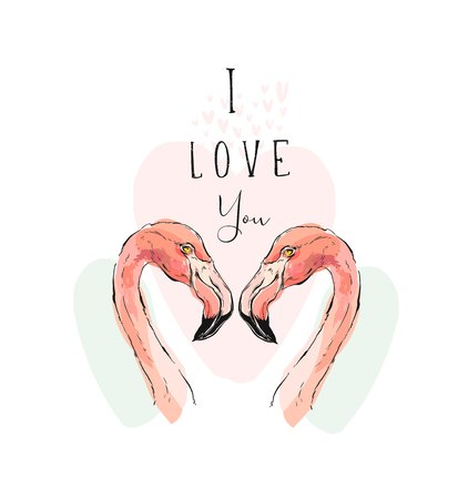 Hand drawn vector abstract tropical romantic illustration with couple of two pink flamingos and modern calligraphy quote I love you isolated on white background.