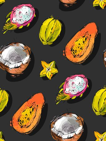 Hand drawn vector abstract freehand textured unusual seamless pattern with exotic tropical fruits papaya, dragon fruit, coconut isolated on black background. Ilustração