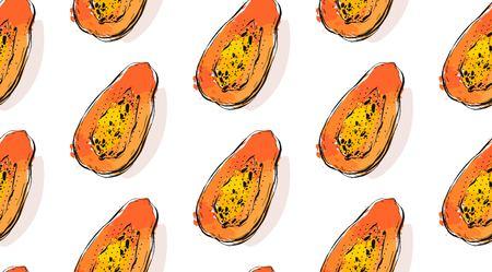 손으로 그린 벡터 추상 특이 한 원활한 패턴 이국적인 열 대 과일 파파야 흰색 배경에 고립.