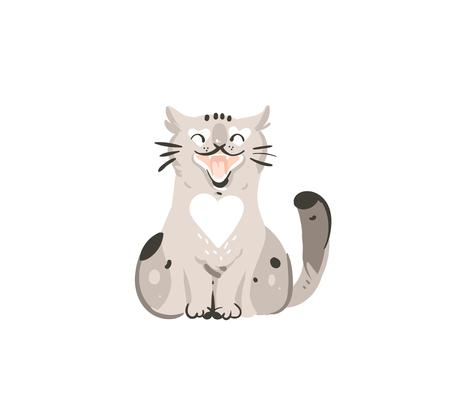 Hand drawn vector abstract graphic doodle cartoon simple illustration icon with cute funny domestic spring meowing cat isolated on white background.