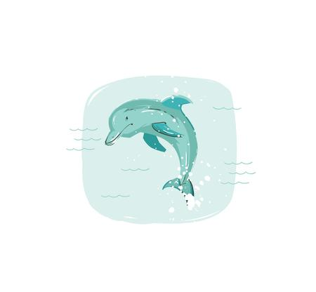 Hand drawn vector abstract cartoon summer time fun illustration with jumping dolphin in blue ocean waves isolated on white background
