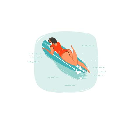 Hand drawn vector abstract cartoon summer time fun illustrations icon with swimming surfer girl on longboard in blue ocean waves isolated on white background.