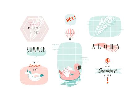 Hand drawn vector abstract cartoon summer time fun illustrations signs collection set with pink flamingo,unicorn buoy rings and modern typography quotes isolated on white background Çizim