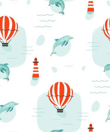 Hand getekend vector abstracte schattige zomertijd cartoon illustraties naadloze patroon met hete lucht ballonnen, vuurtoren en dolfijnen in blauwe oceaan water achtergrond.