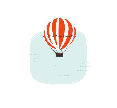 손으로 그린 벡터 추상 만화 여름 시간 재미 뜨거운 공기 풍선 및 간단한 푸른 바다 파도 흰색 배경에 고립 된 그림 일러스트
