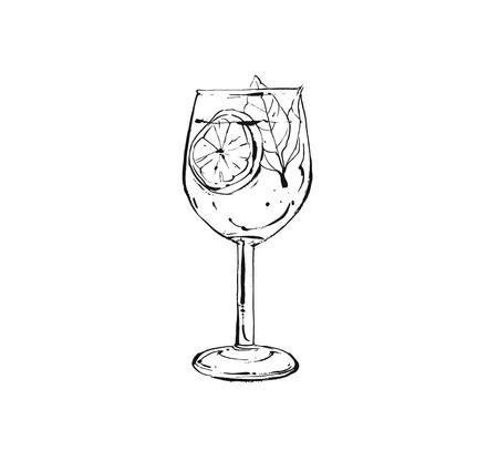 Desenho vetorial abstrato arte culinária tinta esboço ilustração de limonada de frutas tropicais agitar a bebida em um copo de vinho isolado no fundo branco Ilustración de vector