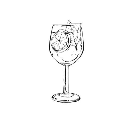 Hand drawn vector abstract artistic cooking ink sketch illustration of tropical fruit lemonade shake drink in wineglass isolated on white background Vectores