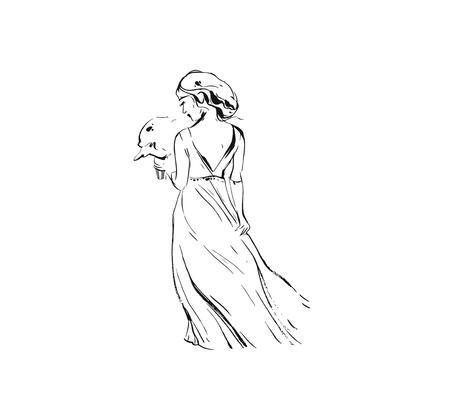 Dessinés à la main vecteur encre graphique abstraite dessin illustration croquis de fille de mariée mariée en robe avec bouquet de fleurs isolé sur fond blanc Vecteurs