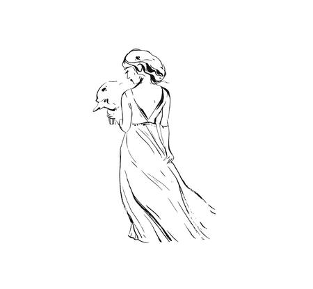 Hand drawn vector abstract graphic ink drawing illustration sketch of bride wedding girl in dress with flowers bouquet isolated on white background