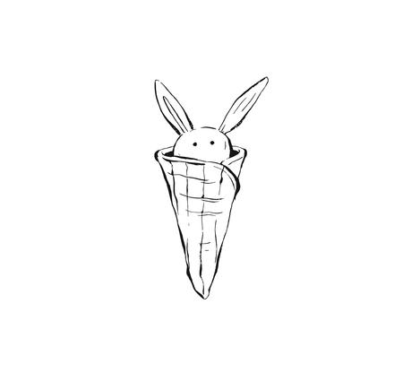 Hand drawn vector abstract ink graphic sketch illustration icon with gelato ice cream waffle cone in funny bunny shape isolated on white background