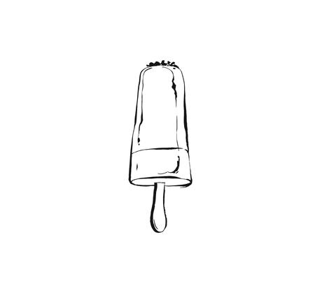 Hand drawn vector abstract ink graphic sketch illustration icon with ice lolly isolated on white background Illustration