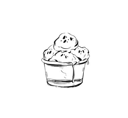 Hand drawn vector abstract ink graphic sketch illustration icon with ice cream balls in cup isolated on white background Çizim