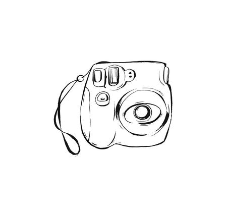 Hand drawn vector abstract ink drawing graphic sketch illustration icon with modern instax fujifilm photo camera isolated on white background Illustration