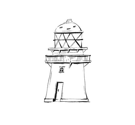 Hand drawn vector abstract graphic summer time ink drawing sketch of lighthouse isolated on white background Illusztráció