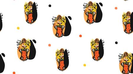 Hand drawn vector abstract ink drawing sketch illustrations seamless pattern collage with tribal tropical wildlife tigers heads isolated on white background. Illustration