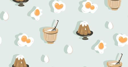 Hand drawn vector abstract modern cartoon cooking time fun illustrations icons seamless pattern with eggs,pudding and pot isolated on blue background Illustration