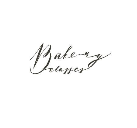 Hand drawn vector abstract modern cooking time handwritten ink textured calligraphy logo,label or sign with Bakery classes text isolated on white background