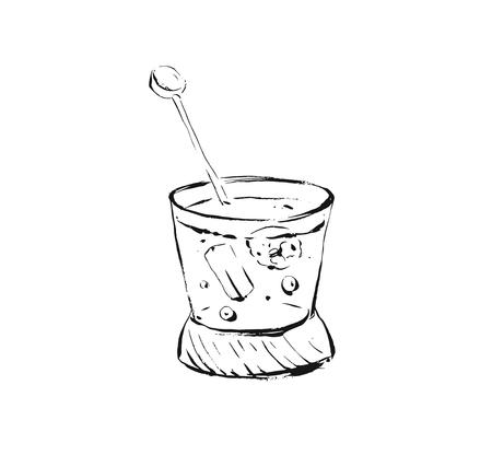 Hand drawn vector abstract artistic cooking ink sketch illustration of alcohol cocktail glass shake drink isolated on white background Stock Illustratie