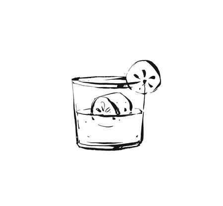 Hand drawn vector abstract graphic artistic cooking ink sketch illustration drawing of cocktail drink in glass isolated on white background.  イラスト・ベクター素材