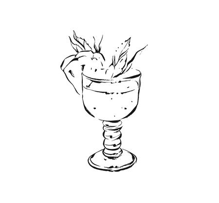 Hand drawn vector abstract artistic cooking ink sketch illustration of tropical pineapple lemonade cocktail shake drink in glass isolated on white background.Diet detox concept Illustration