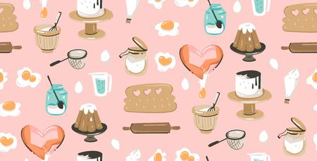 Hand drawn vector abstract modern cartoon cooking time fun illustrations icons.