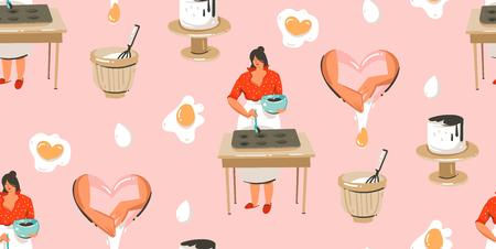 Hand drawn vector abstract modern cartoon cooking time fun illustrations seamless pattern with cooking chef womans in white aprons preparing cookies and food isolated on pink pastel background.  イラスト・ベクター素材