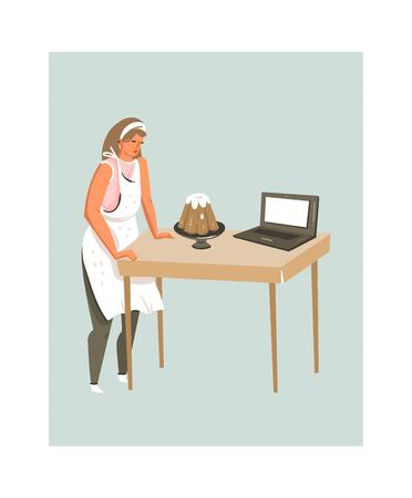 Hand drawn vector abstract modern cartoon cooking time fun illustrations icon with cooking food blogger woman in apron isolated on white background. Illustration