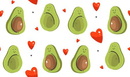 Hand drawn vector abstract modern cartoon Happy Valentines day concept illustrations seamless pattern with avocado couple and many hearts shape isolated on white background
