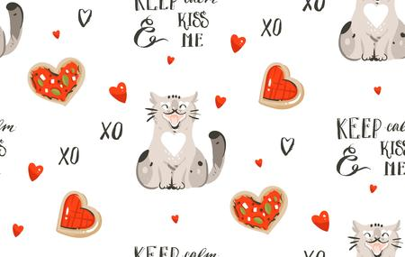 Hand drawn vector abstract modern cartoon Happy Valentines day concept illustrations seamless pattern with cute cats,pizza,handwritten calligraphy and many hearts isolated on white background