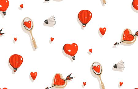 Hand drawn vector abstract modern cartoon Happy Valentines day concept illustrations seamless pattern with badminton racket,cookies,hot air balloons and many hearts isolated on white background