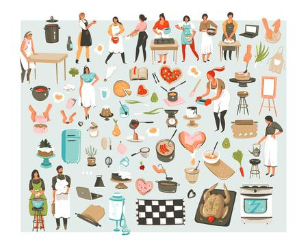 Hand drawn vector abstract cartoon cooking class illustrations icons collection set with cooking chef people characters mans,womans and cooking utensils and food isolated on white background