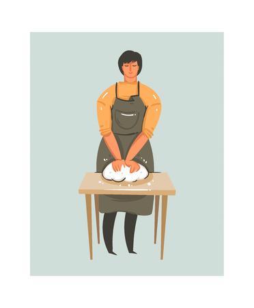 Man in apron, kneading in cartoon illustration.