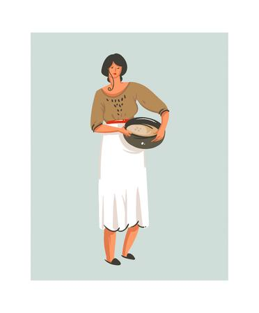Woman holding cooking pot in cartoon illustration.