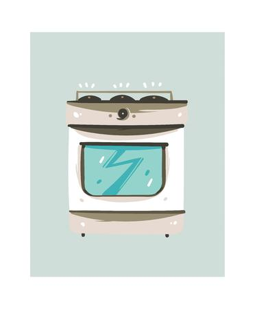 Hand drawn abstract gas stove isolated on white background Illustration