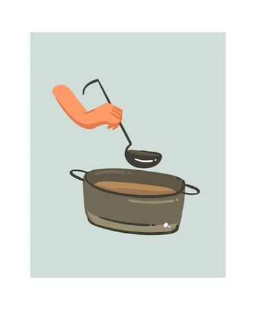 Hand drawn vector abstract modern cartoon cooking time fun illustrations icon with big pan with cream soup and woman hands holding scoop isolated on white background. Stock Vector - 95522904