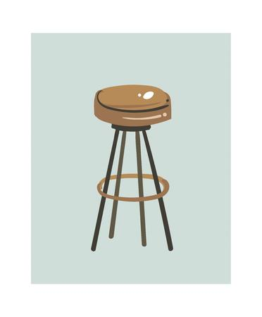 Hand drawn vector abstract modern cartoon cooking time kitchen interior illustrations icon with retro vintage tabouret isolated on white background.Food cooking illustrations concept design