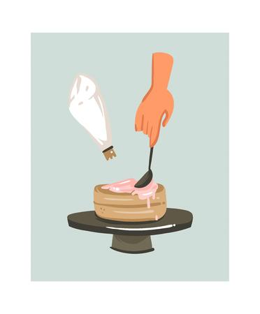 Hand drawn vector abstract modern cartoon cooking time fun illustrations icon with woman hands making a cake isolated on white background.Food cooking illustrations concept design Stockfoto - 95572108