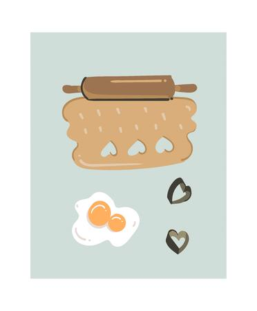 Hand drawn vector abstract modern cartoon cooking time fun illustrations icon with rolled up mixture isolated on white background. Food cooking illustrations concept design
