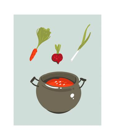 Hand drawn vector abstract modern cartoon cooking time fun illustrations icon with big pan with tomato vegan soup isolated on white background.Food cooking illustrations concept design 向量圖像