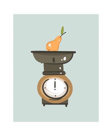 Übergeben Sie gezogene moderne Karikatur der Vektorzusammenfassung, welche die Zeitspaß-Illustrationsikone mit der Retro- Weinleseküchenwaage kocht, die auf weißem Hintergrund lokalisiert wird Lebensmittel, das Illustrationskonzeptdesign kocht