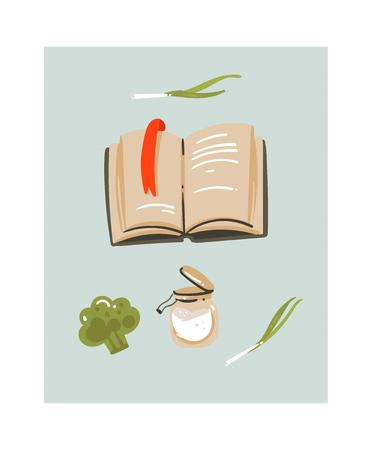 Hand drawn vector abstract modern cartoon cooking time fun illustrations icon with recipes cookbook and vegetables isolated on  background.Food cooking illustrations concept design