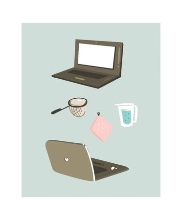 Hand drawn vector abstract modern cartoon cooking time fun illustrations icons with laptops and kitchen equipments isolated on white background. Illustration