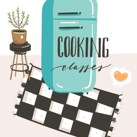 Hand drawn vector abstract modern cartoon cooking class kitchen interior illustrations poster with retro vintage refrigerator and handwritten calligraphy Cooking classes isolated on white background. Stock Illustratie