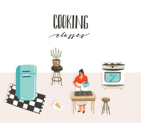 Hand drawn vector abstract modern cartoon cooking class illustrations poster with retro vintage woman chef,refrigerator and handwritten calligraphy Cooking classes isolated on white background