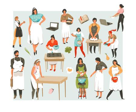 Hand drawn vector abstract cartoon cooking class illustrations icons collection set with cooking people character mans and womans isolated on white background.Food cooking concept illustration design