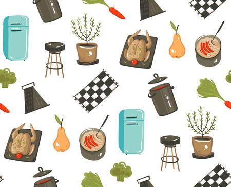 Hand drawn vector abstract modern cartoon cooking time fun illustrations icons seamless pattern with cooking equipment ,food and kitchen utensils vector illustration.