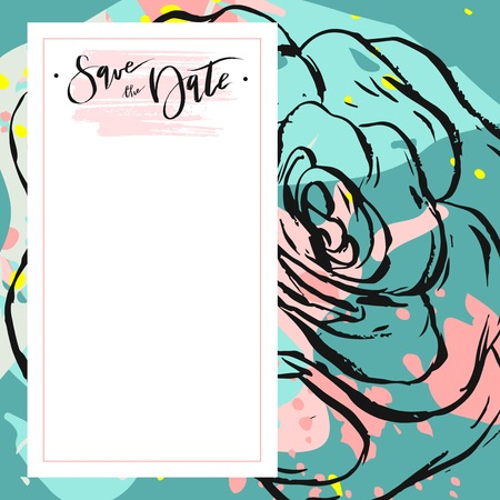 Hand drawn vector abstract creative unusual universal save the date card template with graphic flowers and succulents in pastel colors. Hand made textures for wedding, anniversary, birthday, party invitations. Illustration